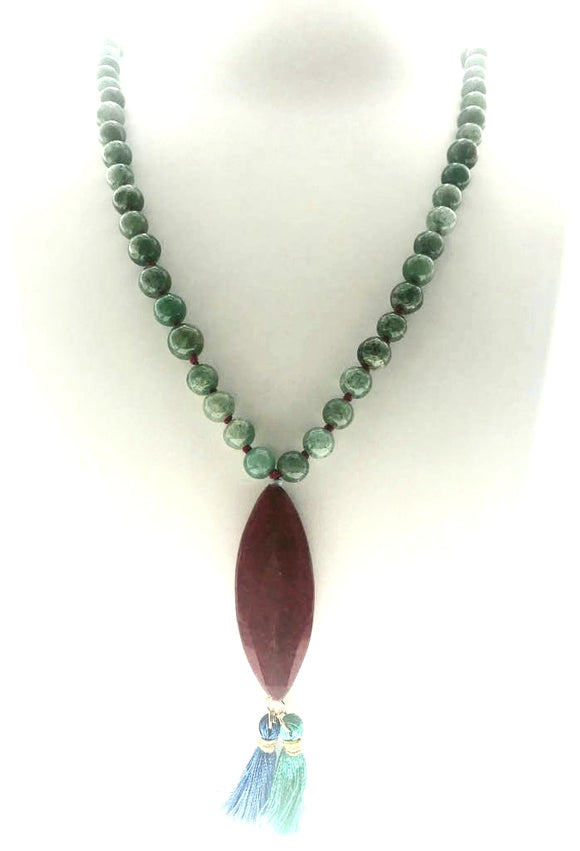 Star Jewels- Modern Designer Semi Precious Stone & Fashion Jewelry Delicate and Charming Green Jade Beads Hand-bound with a Red Natural Agate Pendant (28 Inches with Pendant)