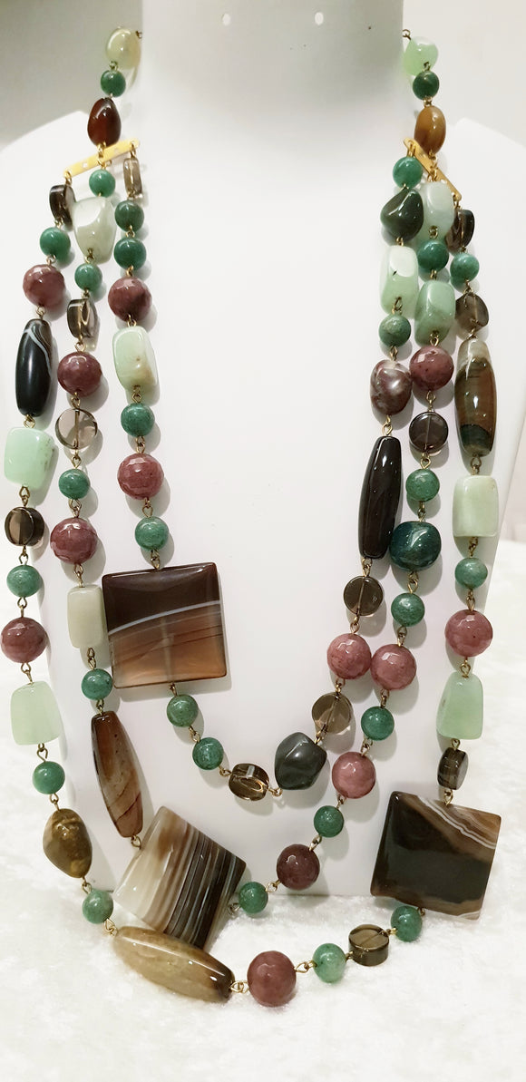 Charming Triple Line Neck Piece made with Real Jade and Mixed Gemstones (18 Inches) - Starjewels