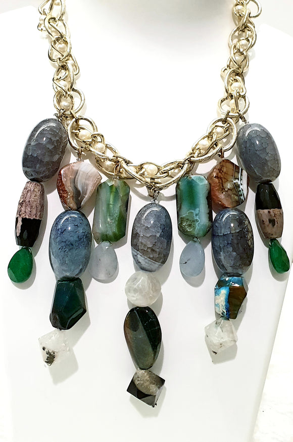 Splendid Blue Aventurine Gemstone Combined with Multi Coloured Agates to Create a Standout Neck Piece (16 Inches + 4 Inch Pendant) - Starjewels