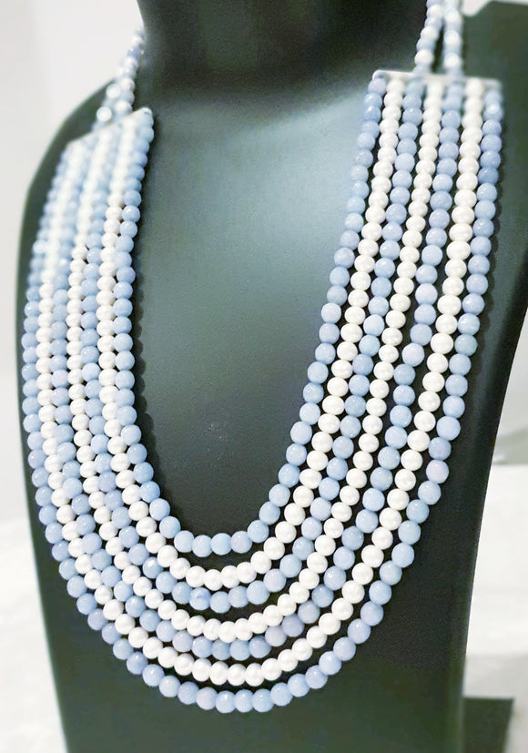 An amazing Seven Line Ensemble with Fresh Water Pearls and Blue Gemstones (20 Inches from Inside + 1.75 Inch Width of Seven Lines) - Starjewels