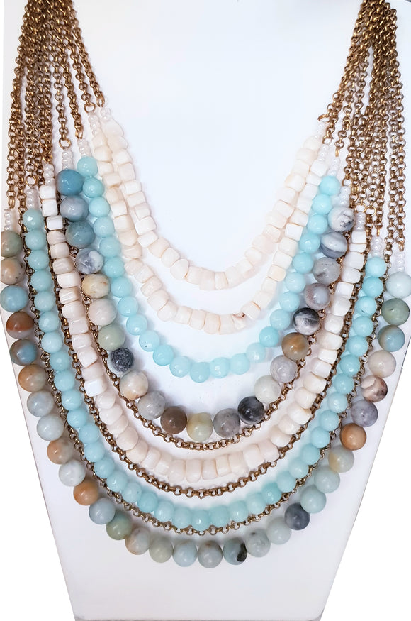 Star Jewels- Modern Designer Semi Precious Stone & Fashion Jewelry A Stunning 10 Line Grand Neck Piece Created with Natural Amazonite and Agates (16 inches extendable to 20 inches)
