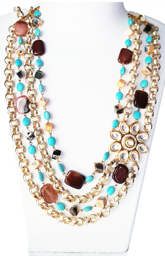 Star Jewels- Modern Designer Semi Precious Stone & Fashion Jewelry A Delightful Combination of Agates, Turquoise and Metallic Gold Chains to Create a Magnificent Four Line Neck Piece (20 Inches)