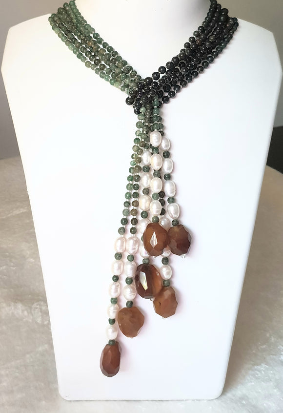 Star Jewels- Modern Designer Semi Precious Stone & Fashion Jewelry Mesmerizing Green Jade and Dark Green Blood Stone Twelve Line Neck Piece (14 Inches + 6 Inch Single Length)