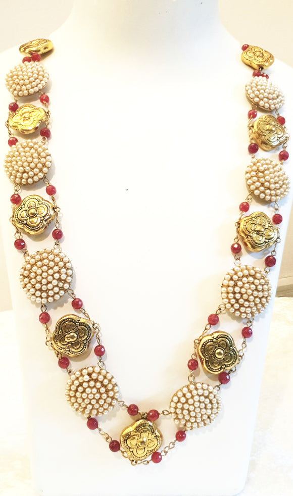 Star Jewels- Modern Designer Semi Precious Stone & Fashion Jewelry A Stunning Designer Neck Piece Created with Pearl in Metallic Gold Plates and Ornamentation (23 Inches Extendable to 40 Inches)