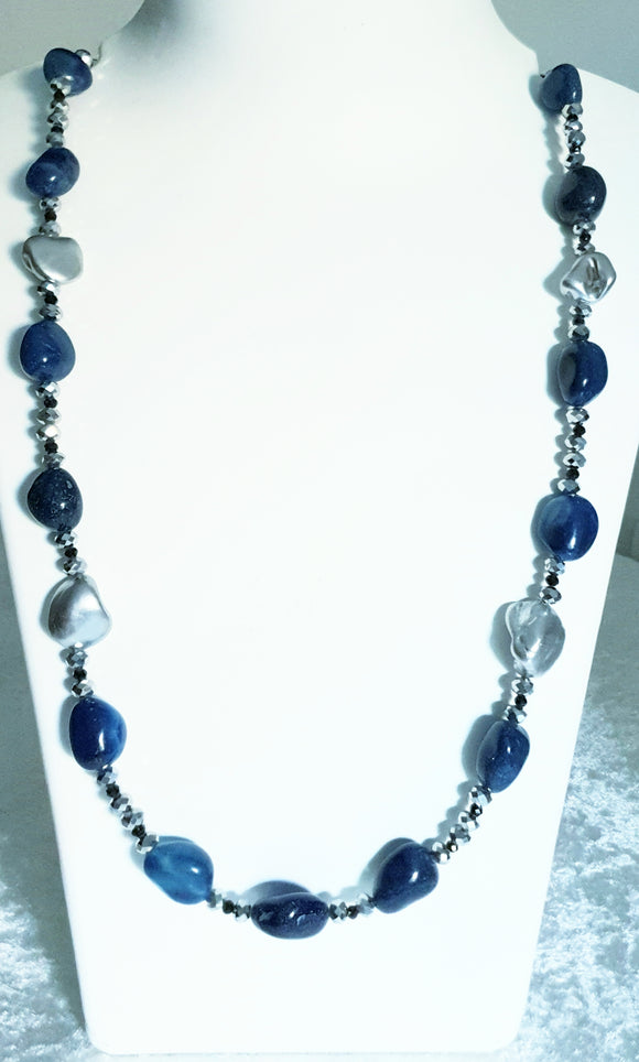 Star Jewels- Modern Designer Semi Precious Stone & Fashion Jewelry Smart and Delicate Blue Onyx Neckl Piece Enhanced with Metallic Silver Pieces and Silver Findings (29 Inches)