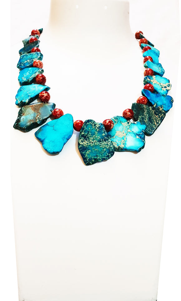 Stunning Blue Imperial Jasper Natural Shape With Red Imperial Jasper Beads (19 Inches)