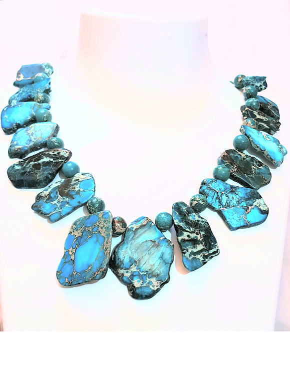 Stunning Blue Imperial Jasper Natural Shape With Blue  Imperial Jasper Beads (19 Inches)