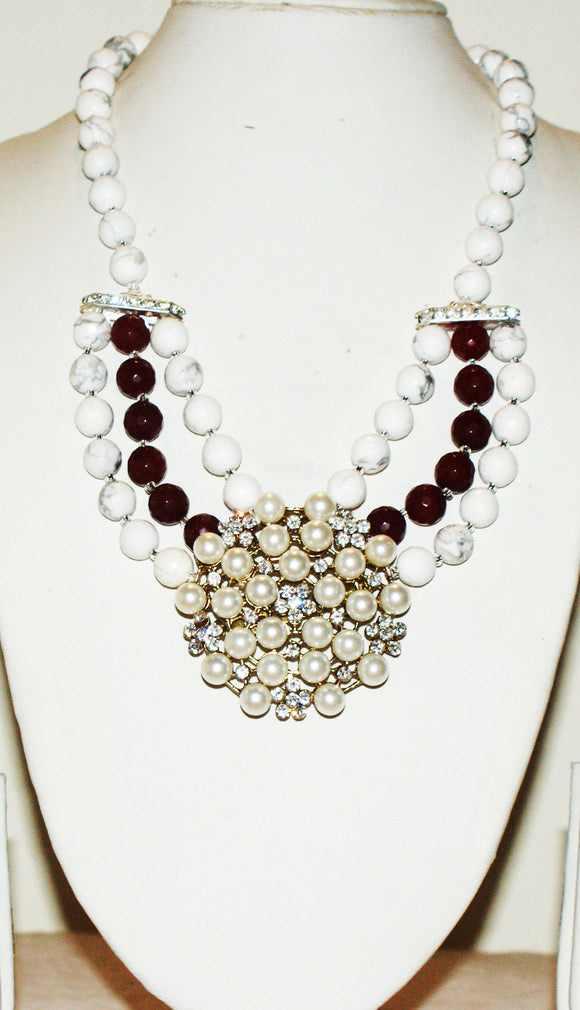 Star Jewels- Modern Designer Semi Precious Stone & Fashion Jewelry Captivating White and Maroon Gemstone Necklace with a Beautiful Art Pendant - (16 Inches + 2.5 Inch Pendant)