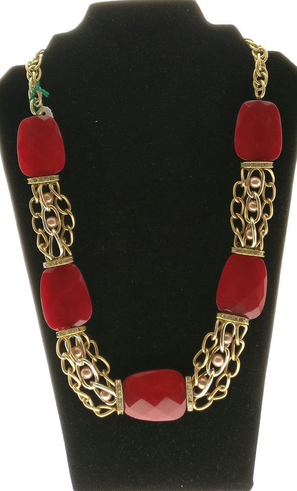 Star Jewels- Modern Designer Semi Precious Stone & Fashion Jewelry Captivating Red Facated Natural Agate Gemstones Bound in a Smart Multi Line Chain (24 Inches)
