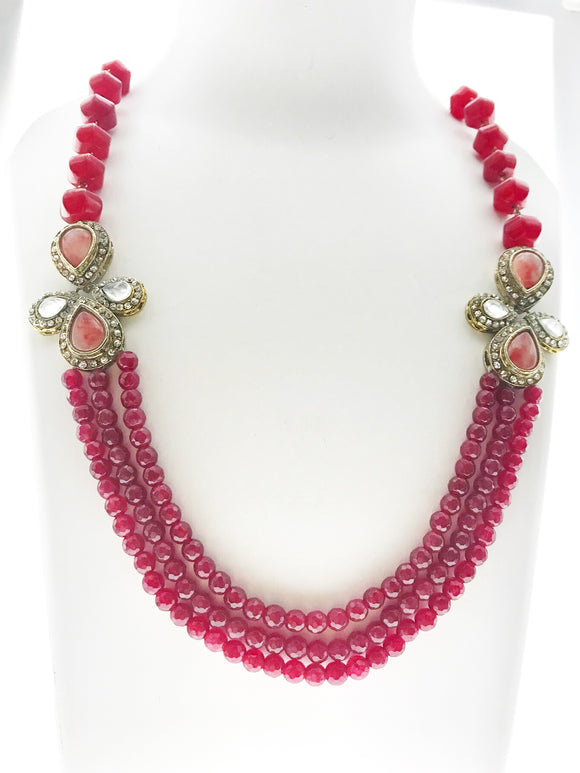 Attractive Three Line Red Gemstone Necklace with Artistic Kundan Ornamentation (22 inches) - Starjewels