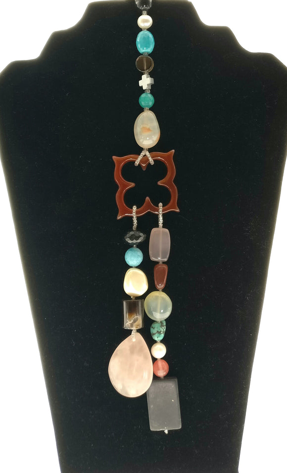 Amazing Multicoloured Gemstones Necklace in Unique Long Pendant Design (40 Inches) - Starjewels