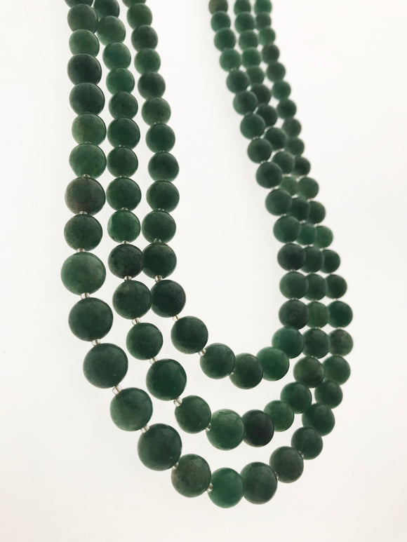 Graceful Three Line Real Jade Classic Design Necklace (30 inches) - Starjewels