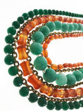 Amazing Seven Line Necklace made with Carnelian and Green Gemstones (21 inches) - Starjewels