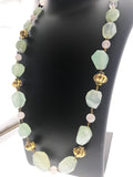 Star Jewels- Modern Designer Semi Precious Stone & Fashion Jewelry Charming Aqua Onyx and Rose Quartz Necklace with Metallic Gold Ornamentation (30 inches)
