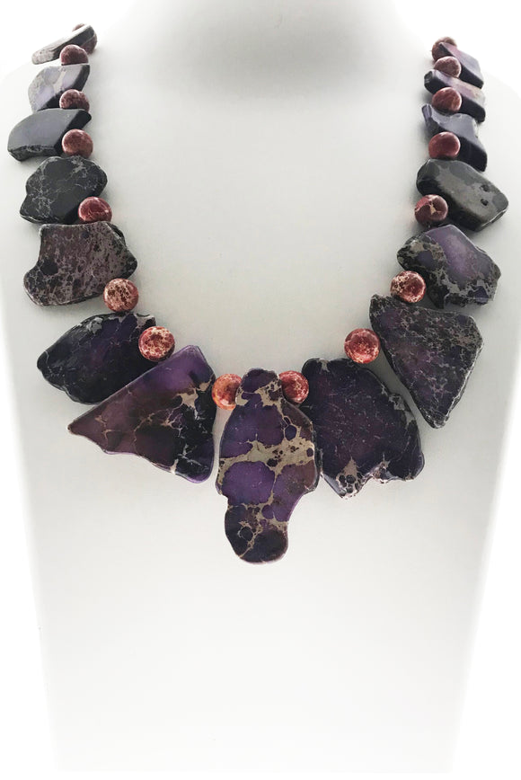 Stunning Purple Imperial Jasper Natural Shape With Red Imperial Jasper Beads (19 Inches)