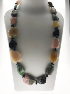 Star Jewels- Modern Designer Semi Precious Stone & Fashion Jewelry Striking Multi Coloured Opal Plates Necklace Enhanced with Hematite Findings (28 inches)