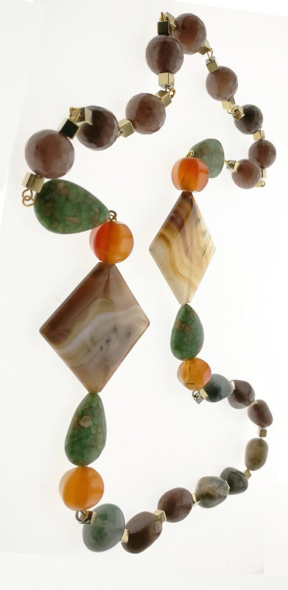 Star Jewels- Modern Designer Semi Precious Stone & Fashion Jewelry Striking Neck Piece Created with a Royal Combination of Natural Jade, Carnelian and Hematite - Wearable Two Way (29 Inches)