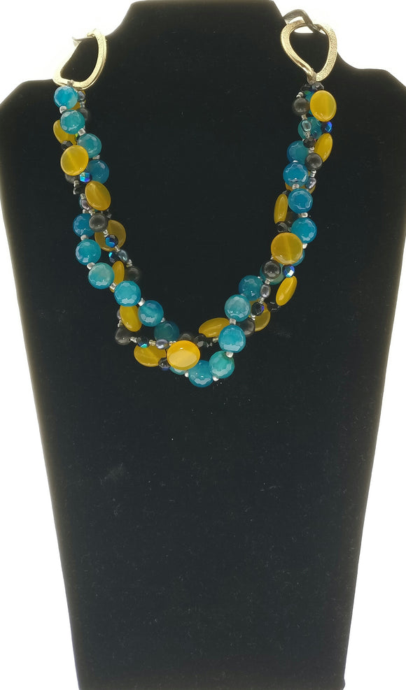 Star Jewels- Modern Designer Semi Precious Stone & Fashion Jewelry Striking Blue and Yellow Gemstone Braided Short Necklace (17 Inches)