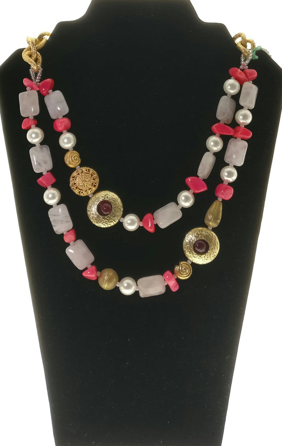New - Gorgeous Pink and White Gemstone Necklace enhanced with Charming Metal and Pearl Adornments - Starjewels