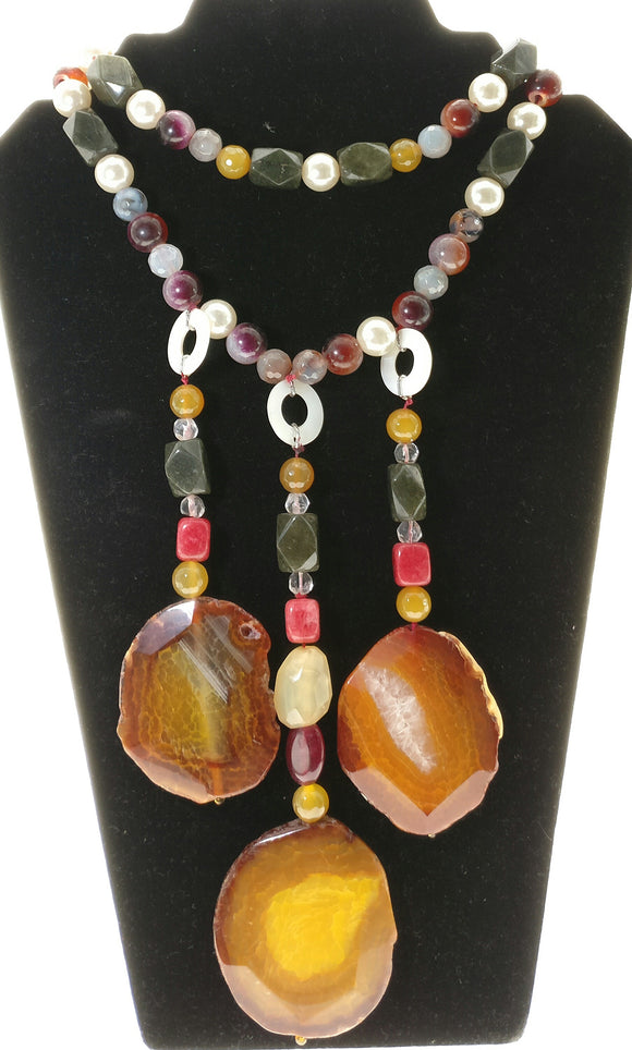 Star Jewels- Modern Designer Semi Precious Stone & Fashion Jewelry Captivating Three Agate Gemstones Pendant Necklace - A Majestic Delight (20 Inches + 6 Inch Pendant)