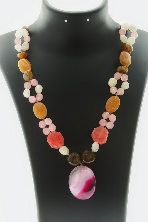 Star Jewels- Modern Designer Semi Precious Stone & Fashion Jewelry Beautiful and Stylish Multi Coloured Agates and Onyx Gemstone Necklace (20 Inches + 2 Inch Pendant)