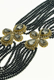 Star Jewels- Modern Designer Semi Precious Stone & Fashion Jewelry Astounding EIght Line Black Gemstone Necklace with Beautiful Kundan Motifs (24 Inches)