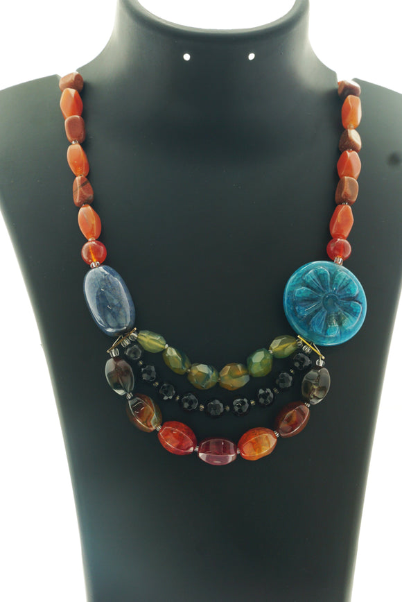 Star Jewels- Modern Designer Semi Precious Stone & Fashion Jewelry Remarkable Neck Piece Created with Striking Carved Agate and Premium Aventurine Side Pendants in a Combination of Mixed Agates, Onyx and Carnelian (18 Inches)