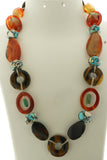 Star Jewels- Modern Designer Semi Precious Stone & Fashion Jewelry A Smart Neck Piece Crafted with Bright Carnelians, Tiger Eye and Premium Agates (25 Inches)