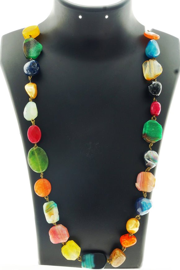 Star Jewels- Modern Designer Semi Precious Stone & Fashion Jewelry A Medley of Premium Colourful Agate and Onyx Gemstones Bound into a Beautiful Vibrant Neck Piece (29 Inches)