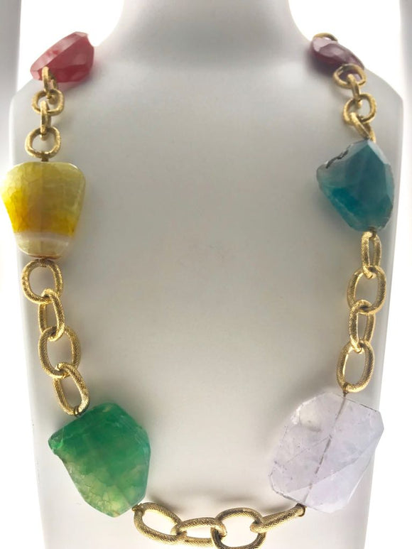 Beautiful Multicoloured Gemstones Fastened Intermittently into a Nice Bold Chain (34 Inches) - Starjewels