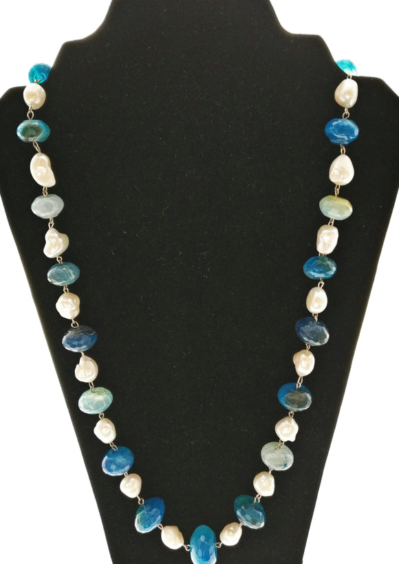 Star Jewels- Modern Designer Semi Precious Stone & Fashion Jewelry A Charming Combination of Fresh Water Pearls and Blue Agates Bound into a Simple yet Striking Neck Piece (26 Inches)