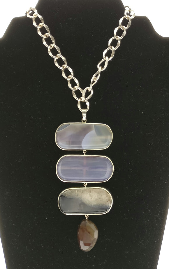 Star Jewels- Modern Designer Semi Precious Stone & Fashion Jewelry Three Beautiful Natural Agate Plates Delicately Encased in 92.5 Silver Casing Along with an Onyx  Gemstone with a Metallic Gold Chain (30 Inches)