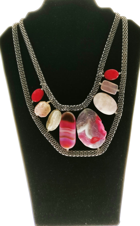 Beautiful Natural Agate Plates Bound in Elegant Metallic Chains (20 Inches) - Starjewels