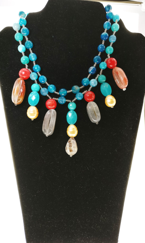 Star Jewels- Modern Designer Semi Precious Stone & Fashion Jewelry Striking Blue Gemstone Necklace with Multiple Brown Gemstone Pendants (14 Inches + 3 Inch Pendant)
