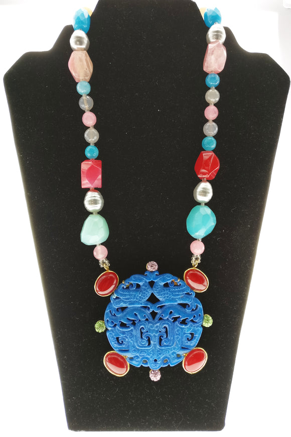 Striking Red and Blue Gemstone Neckpiece Adorned with a Stunning Blue Gemstone Art Pendant (30 Inches) - Starjewels