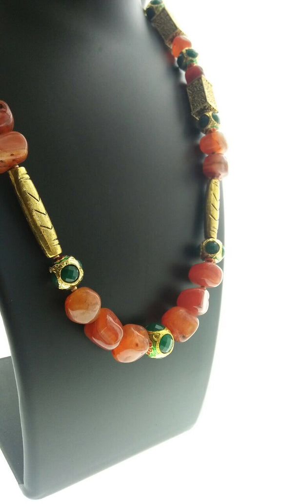 Beautiful Necklace with Carnelian and Metal Findings (26 Inches) - Starjewels