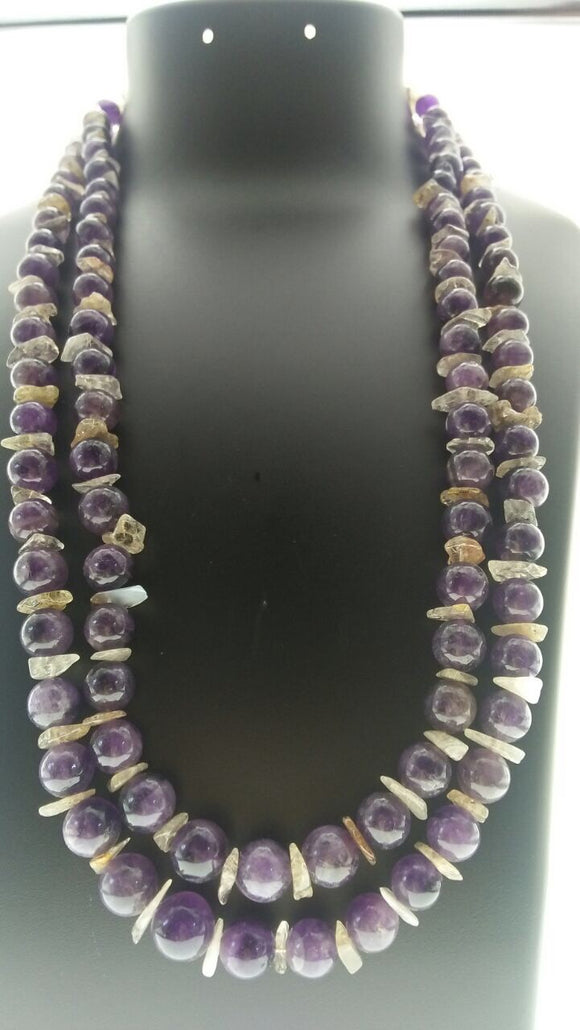 Star Jewels- Modern Designer Semi Precious Stone & Fashion Jewelry Exquisite - Classic Real Amethyst Beads and Citrine Chips - A Regal Look (26 Inches)