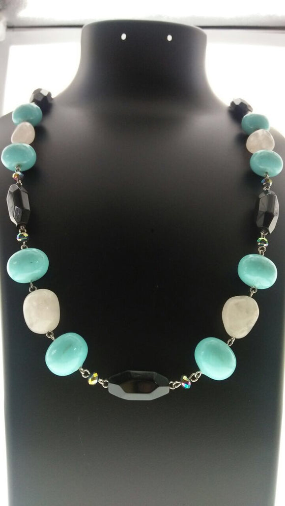 Star Jewels- Modern Designer Semi Precious Stone & Fashion Jewelry An Elegant Ensemble of Rose Quartz, Black Onyx and Turquoise (32 Inches)
