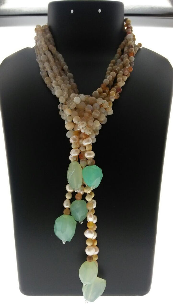 Ultra Stylish Combination of Agate and Onyx Beads Bound with Fresh Water Pearls and Faceted Aqua Onyx (32 Inches) - Starjewels