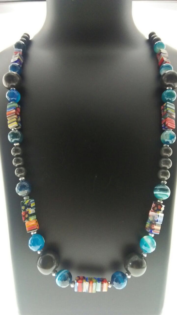 Smart Blue and Black Faceted Gemstone Beads Necklace Adorned with Smart Art Glass Findings (30 Inches) - Starjewels