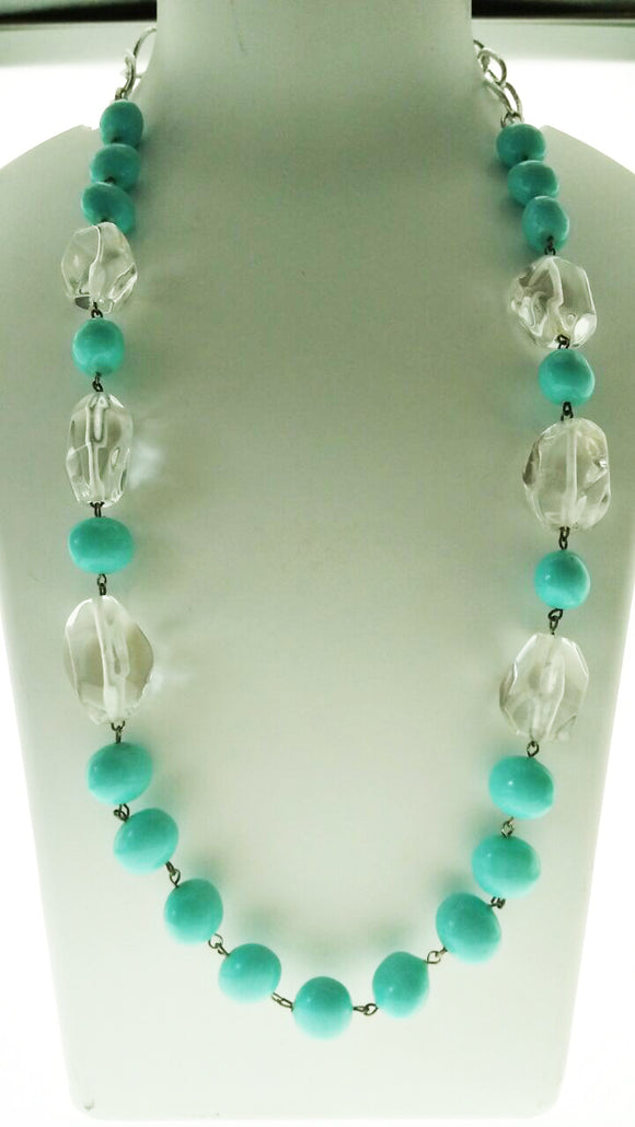 Delightful Blue Beads and Crystal Necklace in Metallic Silver Chain (22 Inches Extendable till 28 inches) - Starjewels
