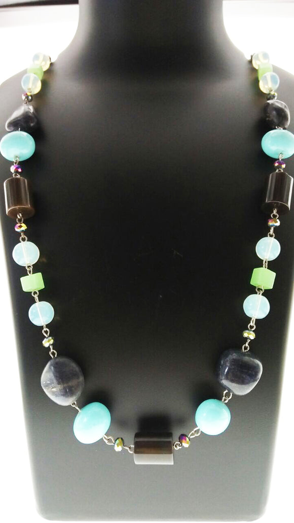 Star Jewels- Modern Designer Semi Precious Stone & Fashion Jewelry Smart Black Aqua and Blue Gemstone Chain Bound in Metallic Findings (36 Inches)