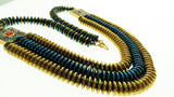 Star Jewels- Modern Designer Semi Precious Stone & Fashion Jewelry A Brilliant Royal Blue and Gold Hematite Stone Necklace Enhanced in a Captivating Design (21 Inches)