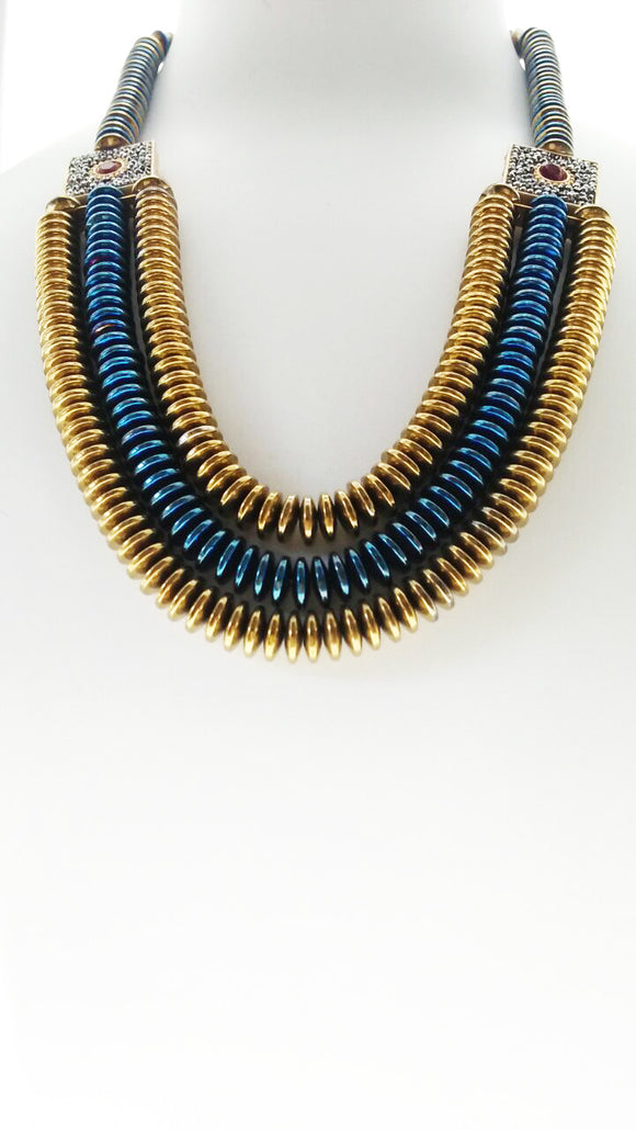 A Brilliant Royal Blue and Gold Hematite Stone Necklace Enhanced in a Captivating Design (21 Inches) - Starjewels