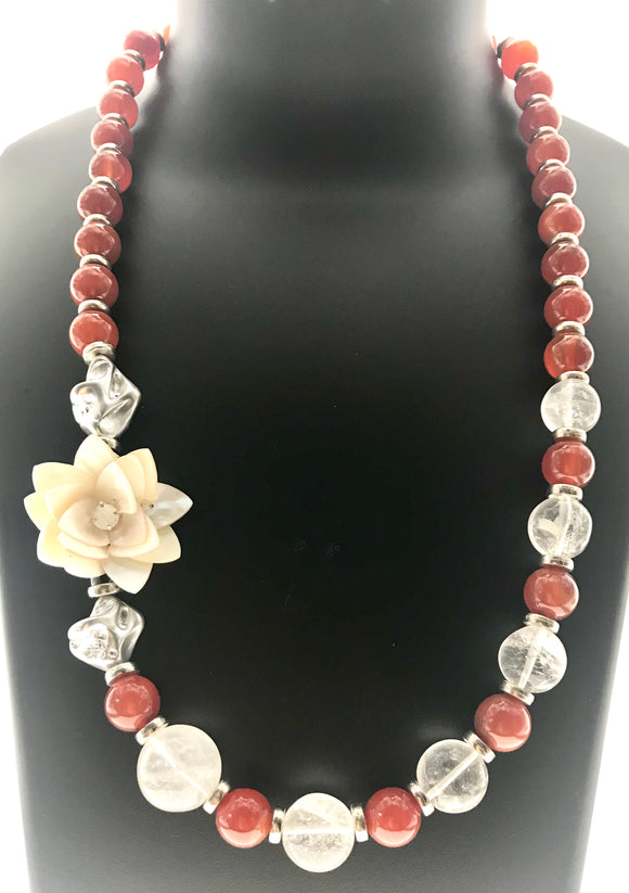 Attractive Carnelian and Crystal Necklace with Mother of Pearl and Swarowski Pendant (22 Inches) - Starjewels