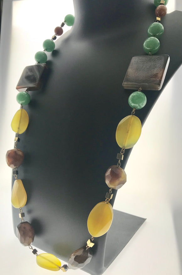 Star Jewels- Modern Designer Semi Precious Stone & Fashion Jewelry Exquisite - Unique Two in One, Double Sided Necklace in Jade, Agate and Onyx (24 Inches)