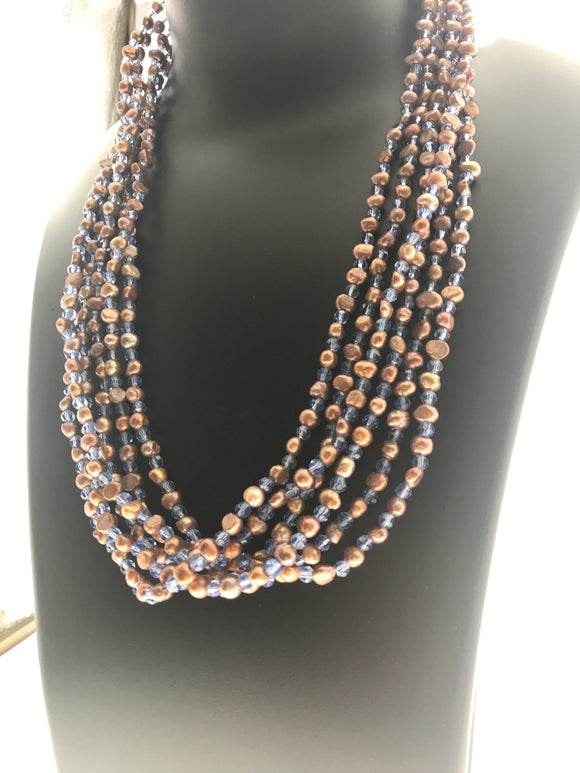 Three Strings Fresh Water Pearl and Blue Ensmeble - Formally Chic and Smart (46 Inches - Double Up 23 Inches) - Starjewels