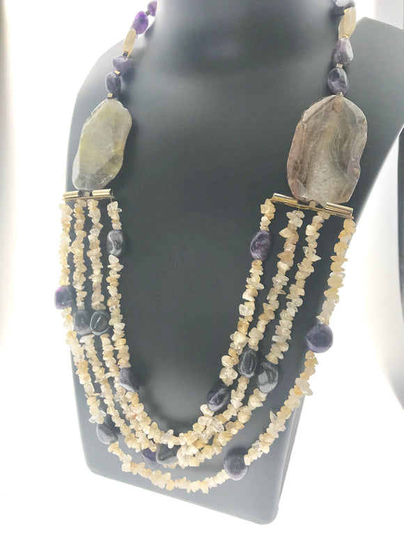 Majestic Four Lines of Raw Citrine Chips Blended with Amethyst and Agate (28 Inches) - Starjewels