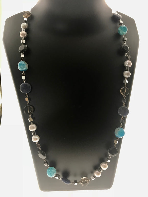Star Jewels- Modern Designer Semi Precious Stone & Fashion Jewelry Appealing Neck Piece Created with a Beautiful Combination of Fresh Water Pearls and a Variety of Gemstones (23 Inches)