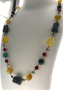 Star Jewels- Modern Designer Semi Precious Stone & Fashion Jewelry Smart Multi Coloured Chain (34 Inches)